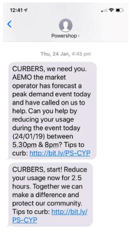 demand response text message